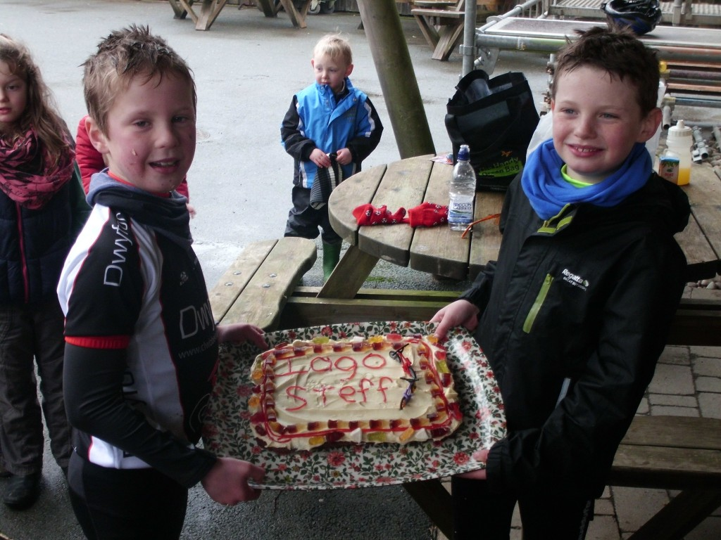 Steffan and Iago wield their secret-energy-weapon: a massive birthday cake!