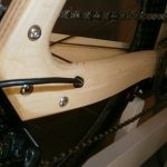 Internal cable routing on wooden seatstays.